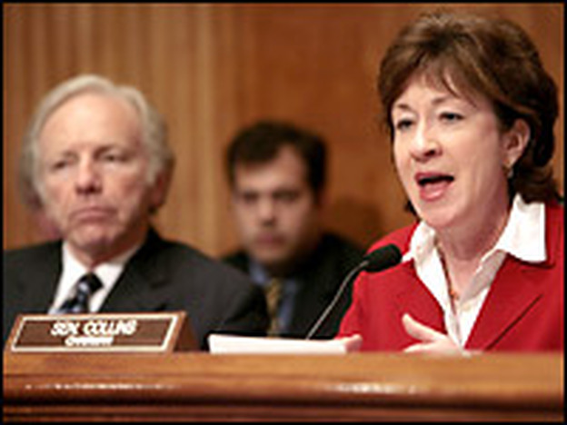 U.S. Senate Homeland Security and Governmental Affairs Committee ranking minority member Sen. Joe Lieberman (D-CT) and committee chairman Sen. Susan Collins (R-ME) preside over a hearing in Jan. 2006.