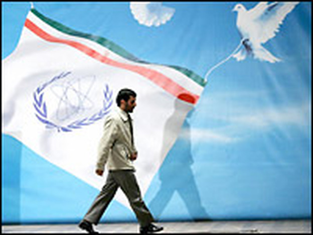 Iranian President Mahmoud Ahmadinejad walks away from the podium after a speech in Mashhad, Iran, on Tuesday in which he said the country would accelerate its nuclear program.