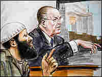 Zacarias Moussaoui (L) listens to testimony. Credit: Art Lien/AFP/Getty Images.