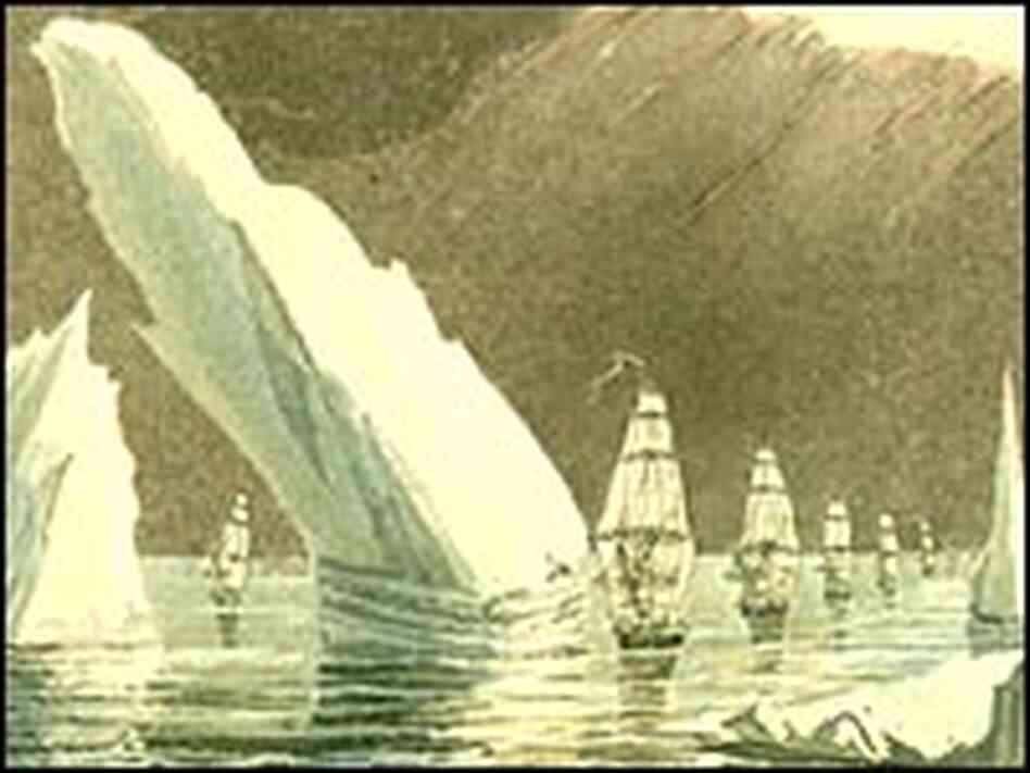 'Passage Through the Ice, June 16, 1818,' drawn by John Ross.