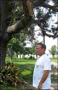 Michael Kovalsovich stands next to a huge live oak tree in his yard.