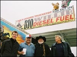 Peter Bell, Carl Cornelius, Willie Nelson and Steve Gilcrease, gather at Carl's Corner.