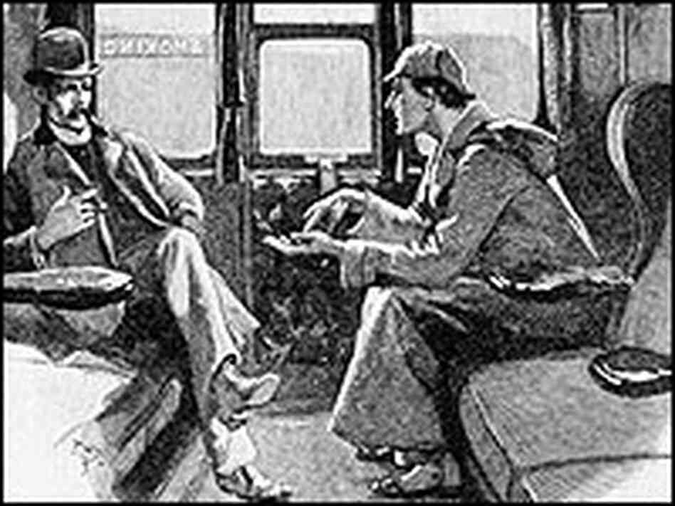 "Dr. Watson gets a ""sketch of events"" from Sherlock Holmes, in one of Sidney Paget's original drawing"