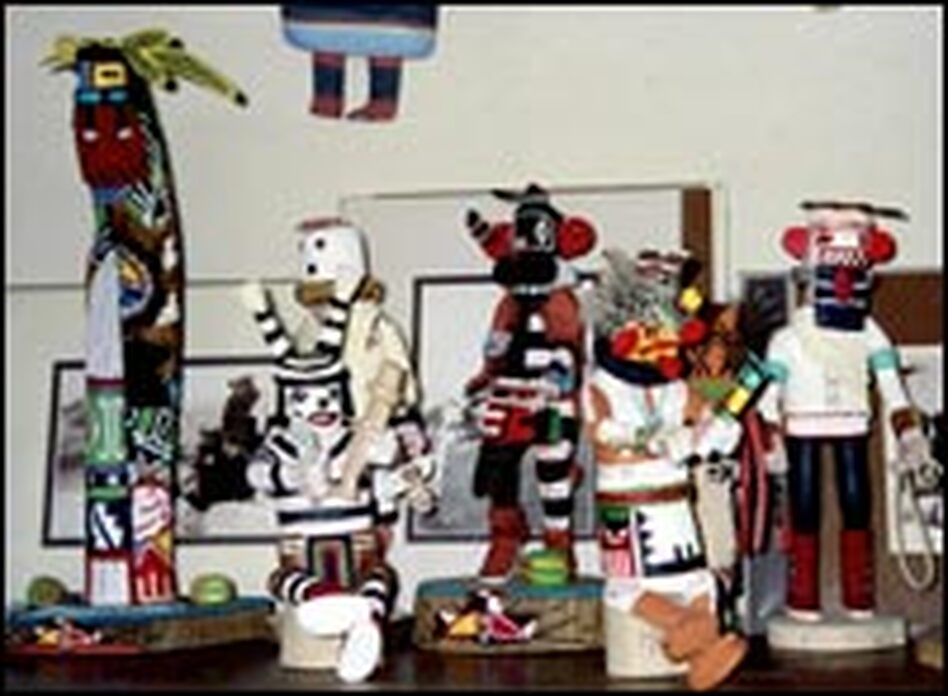 When Jonathan Day was growing up, Joe and Janice would send him kachina dolls like these for his birthday and for Christmas so he wouldn't forget his summers on the reservation.