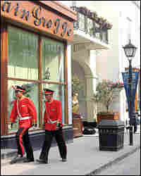Even Thames Town's security guards have special touches to their uniforms that seem designed to evok