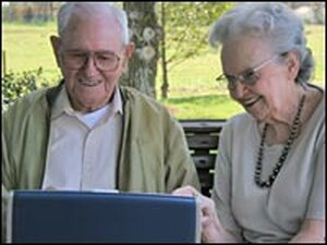 Seniors on a computer