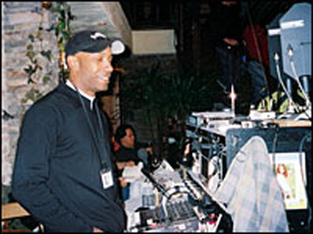 Sound mixer Dave Parker on the set of  <em>Freedom Writers</em> in San Pedro, Calif.