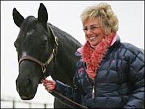 Elaine Hall walks Royal Blue Boon.