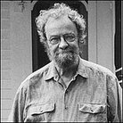 Poet Donald Hall outside his farmhouse.