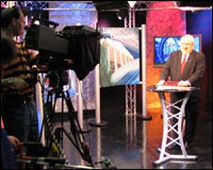 Falwell at the Liberty Broadcasting studio.