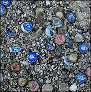Bottle-caps at ice house parking lot