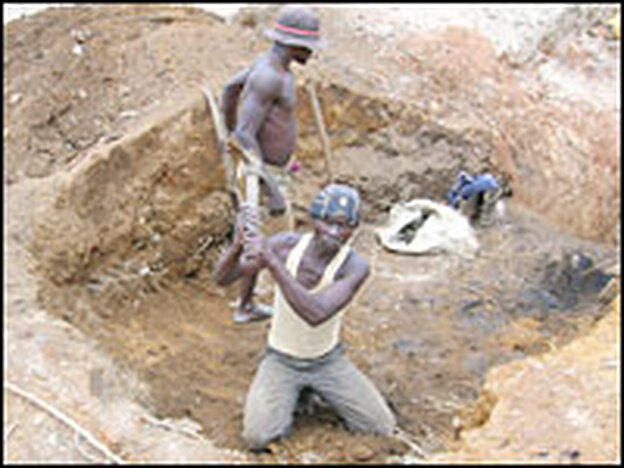 All the work in the copper mine is done by hand.