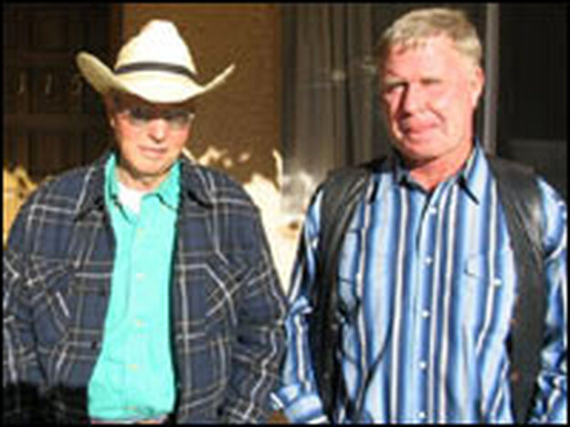 "'Cowboy Cupid' Ivan Thompson, left, and his client, Gary Childs, at a hotel in Casas Grandes, Mexico. Childs, a rancher from Michigan, says he came to Mexico to ""find a slim, attractive young lady that appreciates a good man."""