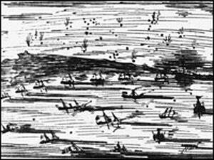 The Fleet Engaging the Two Forts