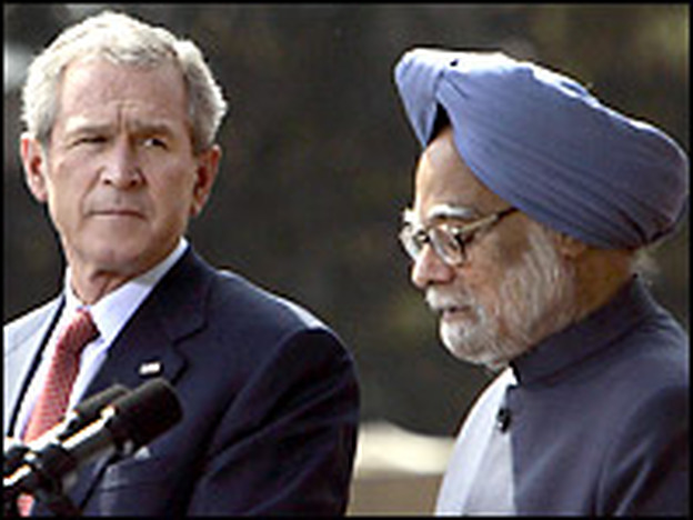 U.S. President George W. Bush (L) and Indian Prime Minister Manmohan Singh address a joint press conference following a meeting at Hyderabad House in New Delhi on Thursday.