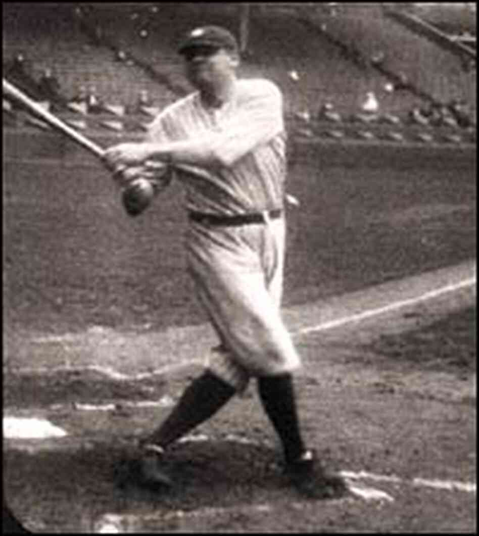 Babe Ruth swings bat.