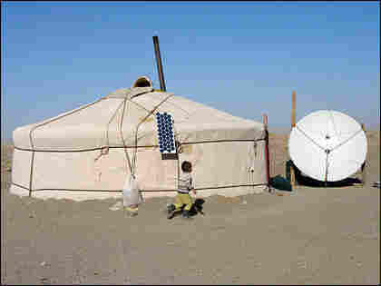 The round yurt-like home of a nomadic herder.
