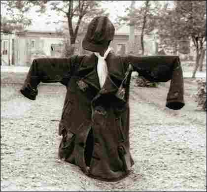 A scarecrow in the Lodz Ghetto hospital garden.