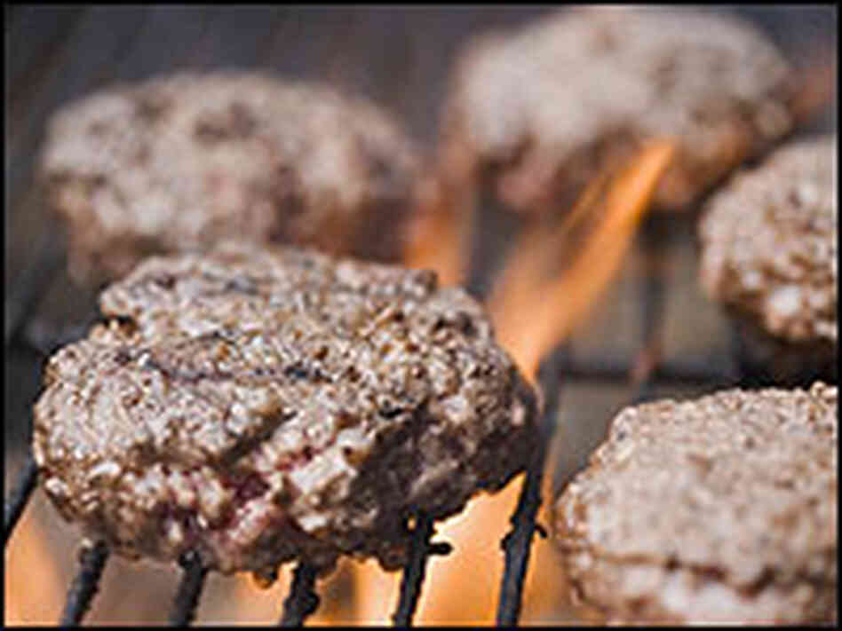 Hamburgers on the grill.