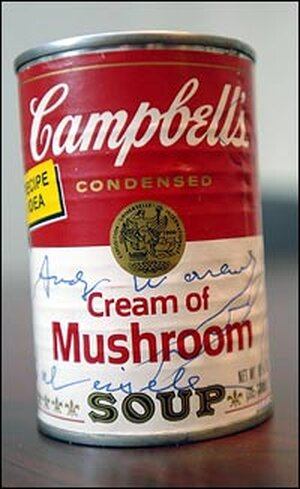 Signed Campbell's Cream of Mushroom soup can