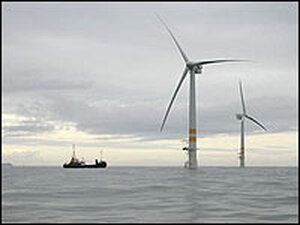 A 3.6-megawatt GE wind turbine at Arklow Bank offshore wind facility near Arklow, Ireland.