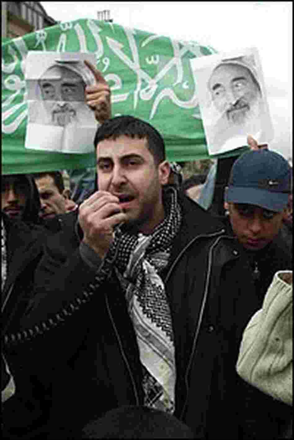 Dyab Abou Jahjah leads a protest of the killing of Hamas spiritual leader Sheikh Ahmed Yassin.