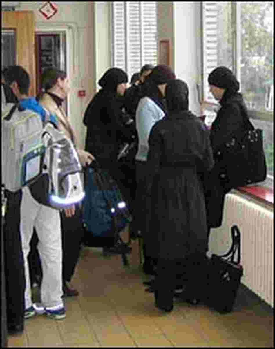 Students gather in a hallway of Koninjlik High School.