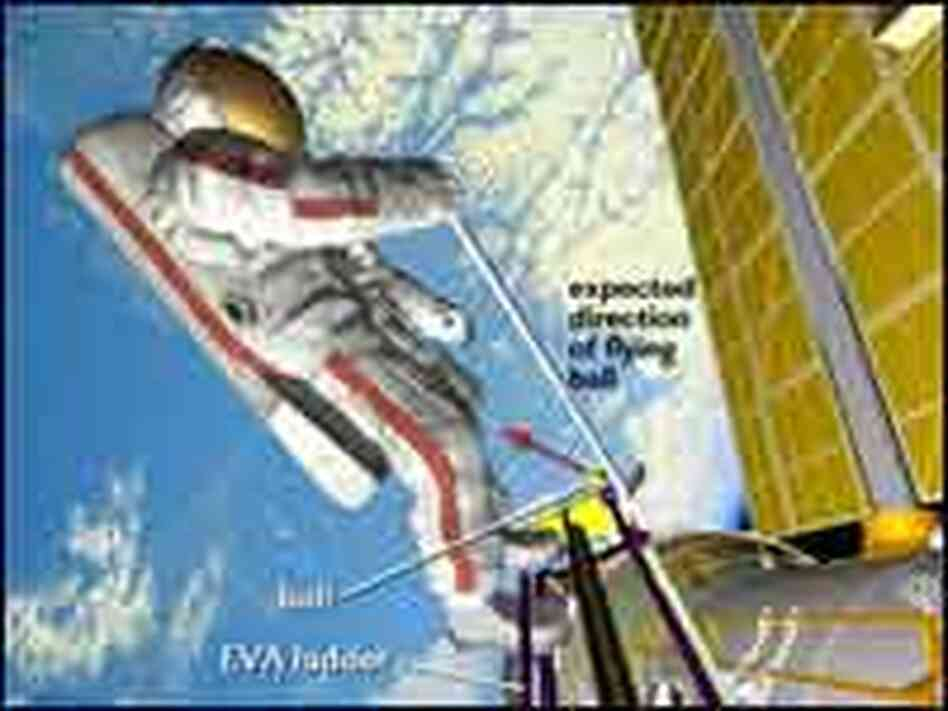 A diagram of where flight engineer Mikhail Tyurin will stand to play golf.