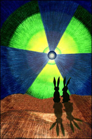 Bunnies sitting in front of a radioactive nuclear sign.