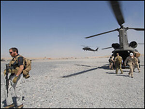 U.S troops disembark from a helicopter. Credit: SHAH MARAI/AFP/Getty I
