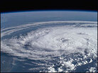 A churning storm, viewed from the international space station.