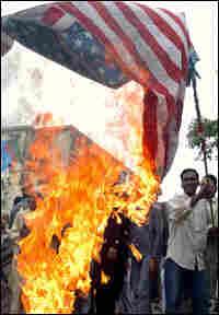 Demonstrators burning US flag