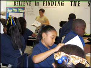 Students in Scarlet Feinberg's fifth-grade class at KIPP:BELIEVE College Prep,