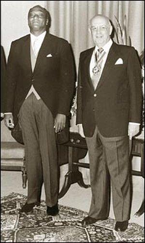 U.S. Ambassador Edward Perkins and South African President P.W. Botha