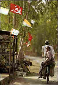 Marxist flags fly in a village of the outskirts of Nandigram.