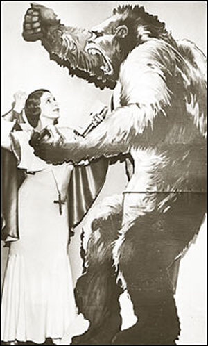 Aimee Semple McPherson and a cutout poster of a large gorilla