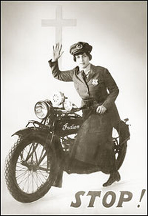 Aimee Semple McPherson dressed as a motorcycle cop.