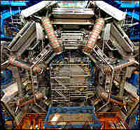 The gargantuan ATLAS particle detector is seven stories tall.