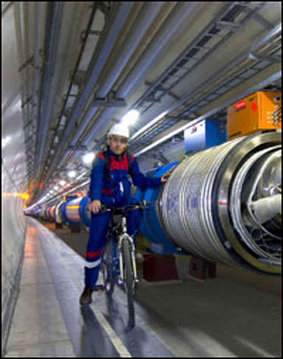 CERN staffers use bikes to travel through the Large Hadron Collider's 17-mile tunnel.