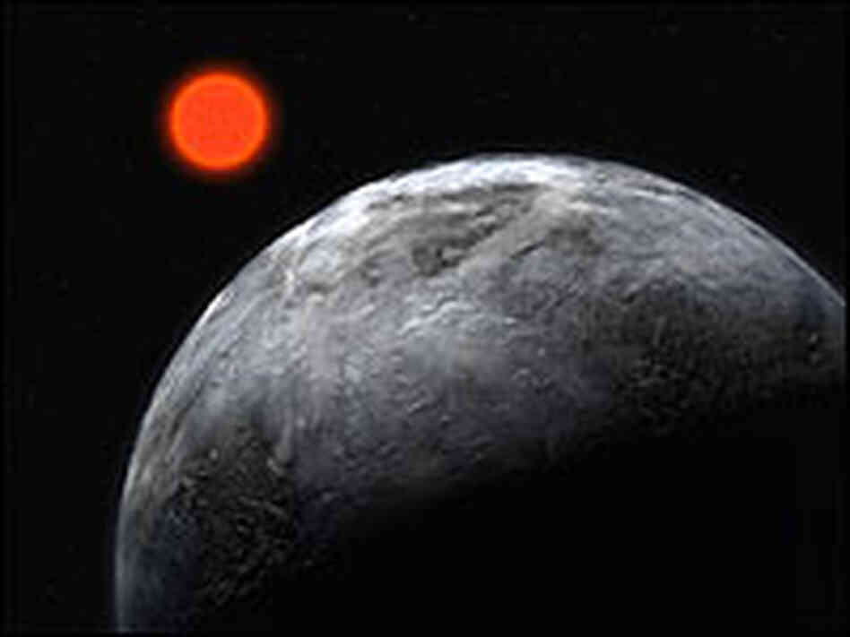 An illustration of the planet found in the habitable zone around the red