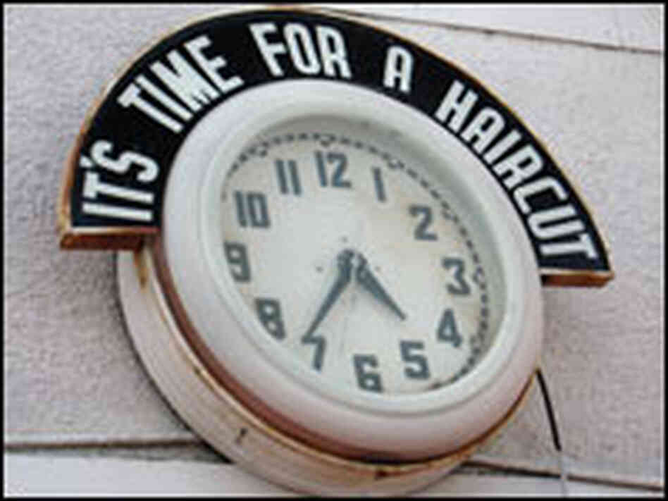This former barbershop clock is a familiar fixture in