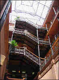 The interior of the Bradbury Building