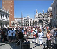 Tourists crowded in St. Mark's Square.