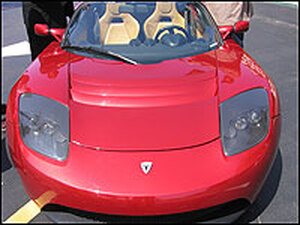Celebrities and business tycoons are in line to buy the $100,000 Tesla Roadster. The electric sports car runs on about 7,000 batteries and can go from 0 to 60 mph in four seconds.