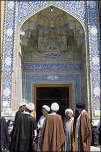 Clerics standing outside a mosque