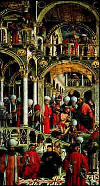 Giovanni Mansueti's painting, St. Peter Baptizing Anianus