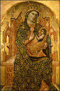 Stefano Veneziano painting, Madonna Enthroned with Child
