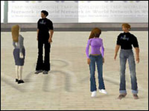 The Network in World courtyard in the online world Second Life