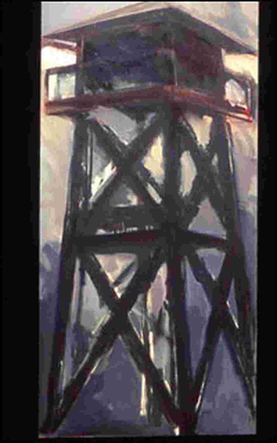 Painting: 'Tower 4, Tule Lake Internment Center'