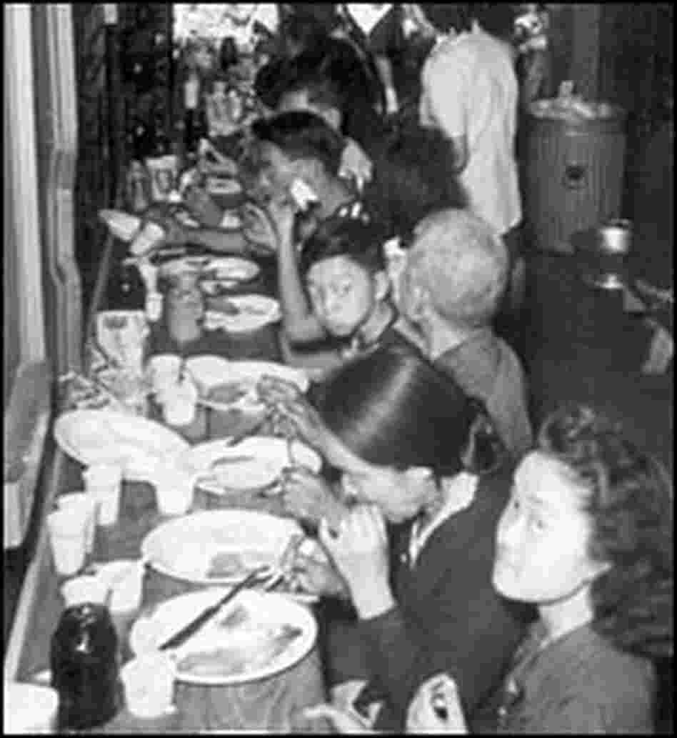 Dinnertime in the baggage car.